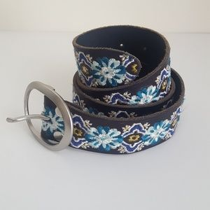 Lucky Brand Leather Boho Embroidered Belt Sz XS